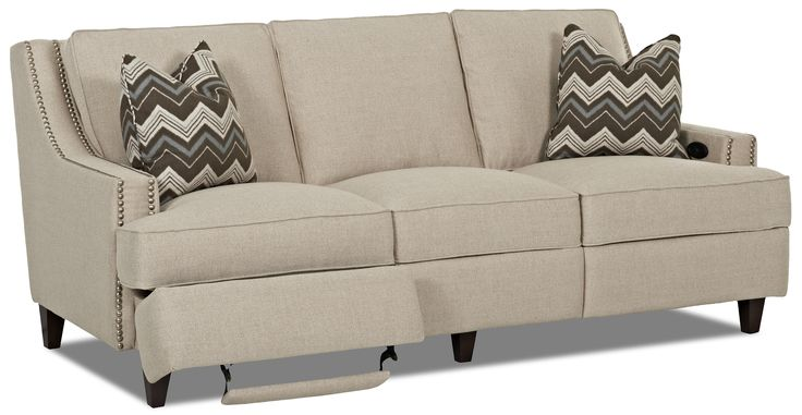 "Transitional Power Hybrid Sofa Manufacturer	Klaussner Width (side to side)	83"" Height (bottom to top)	35"" Depth (front to back)	43"" Arm Height	24"" Seat Depth	22"" Seat Height	21"""