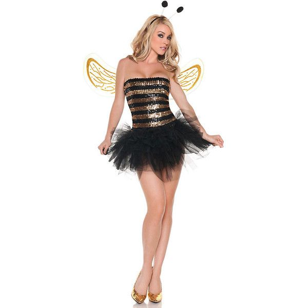 Womens Sexy Sequins Bee Adult Costume ($50) ❤ liked on Polyvore featuring costumes, halloween costumes, multicolor, sexy adult costumes, adult bumble bee costume, bumble bee costume, adult honey bee costume and adult halloween costumes