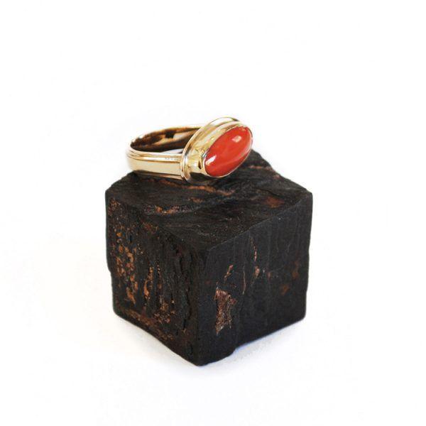 Coral Vintage Gold Handmade Ring