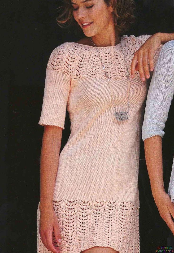 Мини-платье с ажурным узором, вязаное спицами - Платье,сарафан - Страна рукоделия