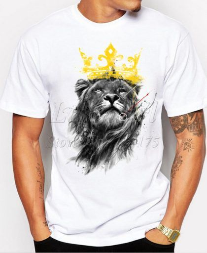33a02997c7b82b Lion Printed T-shirt Funny Tee Shirts Hipster in 2018