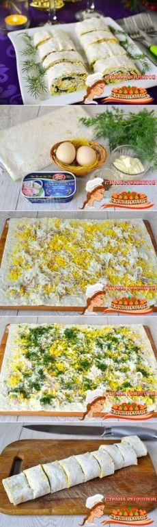 Рулет из лаваша на новый год с яйцом и печенью трески, рецепт новогодней закуски