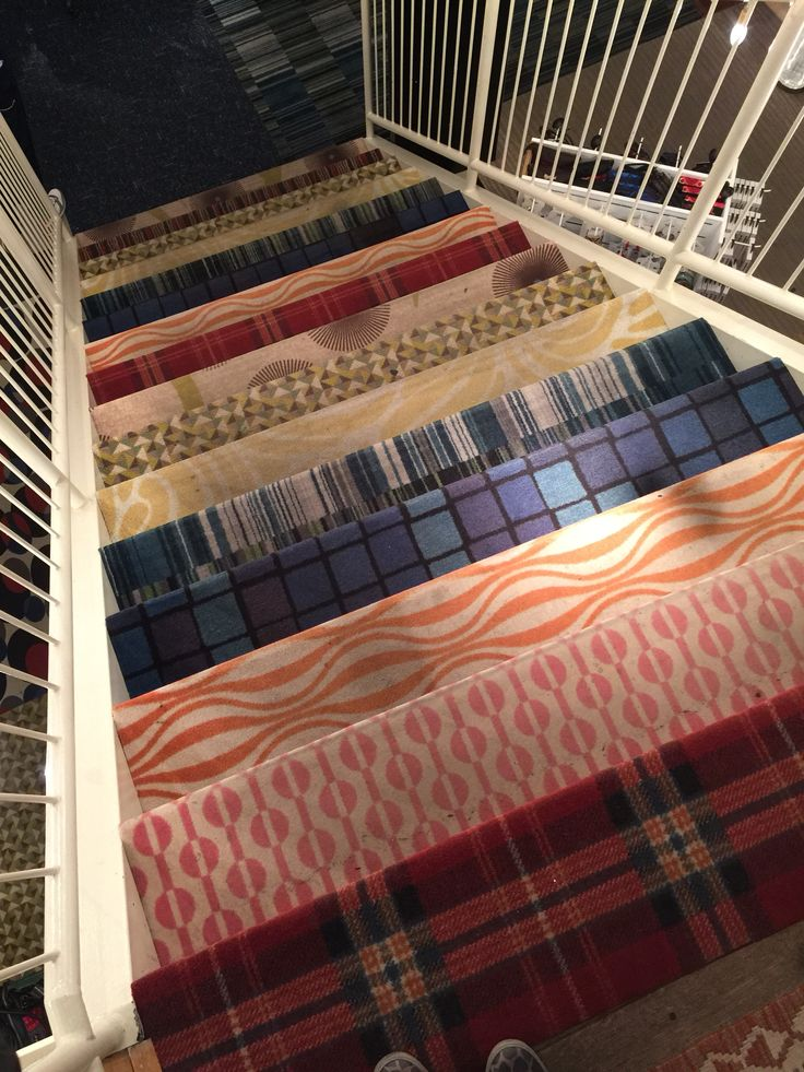 Stairs in Desigual Store. Different Pattern from EGE Carpets. Amsterdam.