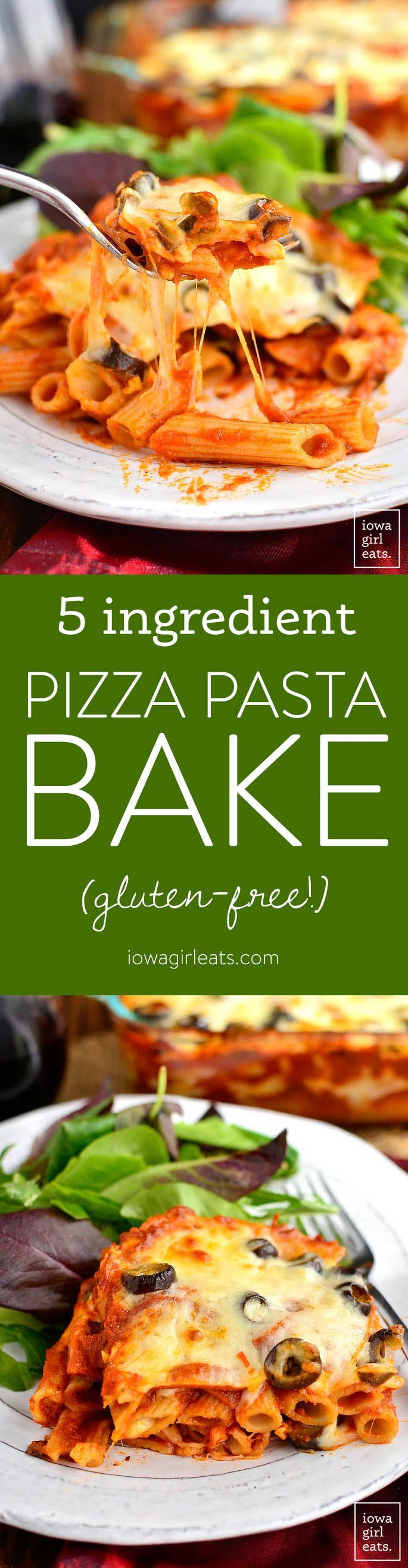 5-Ingredient Pizza Pasta Bake is a cheesy and decadent gluten-free casserole recipe that will let you get your pizza fix without calling for delivery! | iowagirleats.com #glutenfree