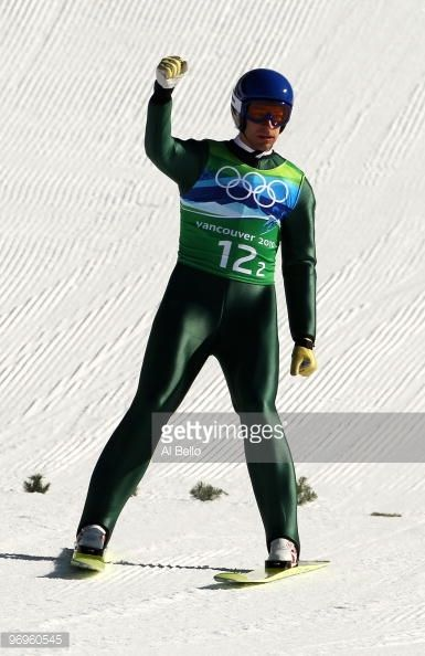 Andreas Kofler of Austria reacts after his final jump in the men's ski jumping team event on day 11 of the 2010 Vancouver Winter Olympics at Whistler...