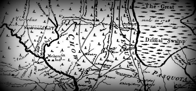 The 1733 Edward Moseley map of North Carolina, above, shows the Meherrin Indian Village to the left. Around the same time, this note from William Byrd was recorded in 1728 while surveying the divid…