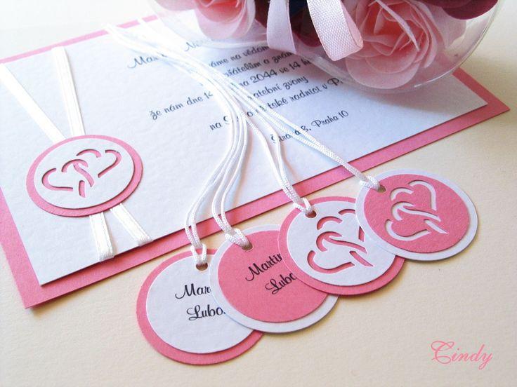 Svatební oznámení propletená srdce se stuhou