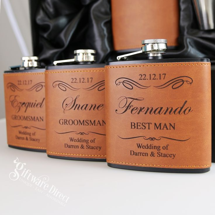6oz Black & Leather Hip Flask Gift Set Engraved Stainless Wedding Groomsman Best man present From #GiftwareDirect