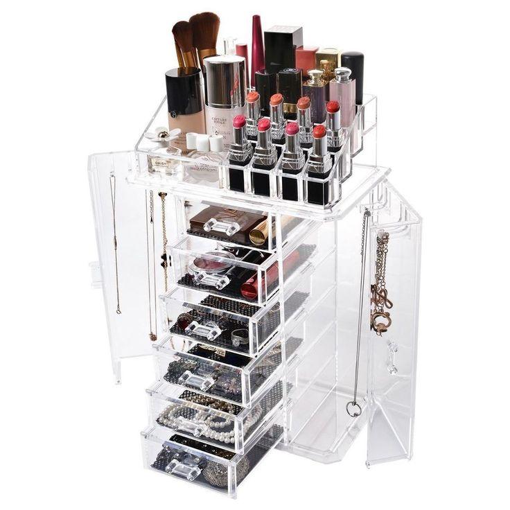Makeup Organizer Set Travel Cosmetics Acrylic Jewelry Perfume Storage Clear Slot #Miusco