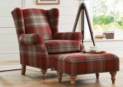 Sherlock chair, £450 and footstool, £199, seen in Stirling red, Next. PA Photo/Handout.