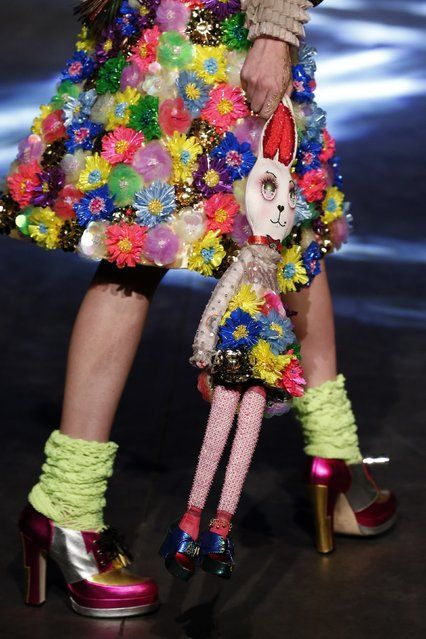 A model presents a creation by Indian designer Manish Arora as part of his Spring/Summer 2016 women's ready-to-wear fashion show in Paris, France, October 1, 2015. (Photo by Benoit Tessier/Reuters)