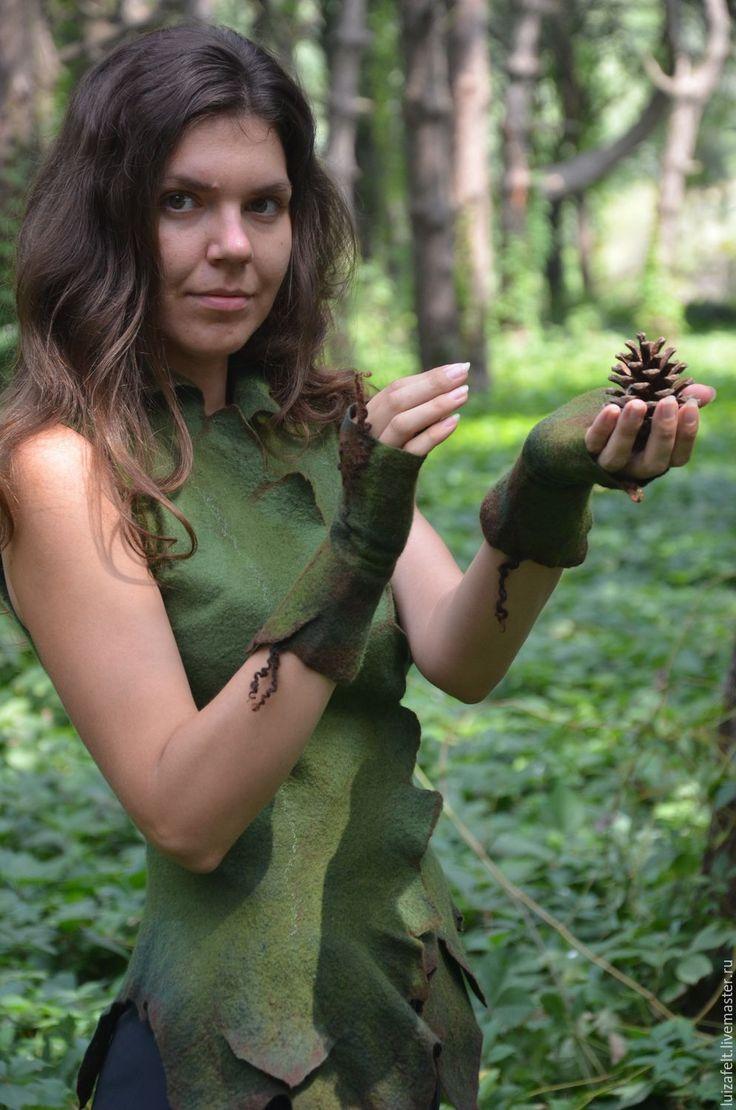 Купить Митенки валяные Лесная принцесса - зеленый, зеленые митенки, лесные митенки, лес