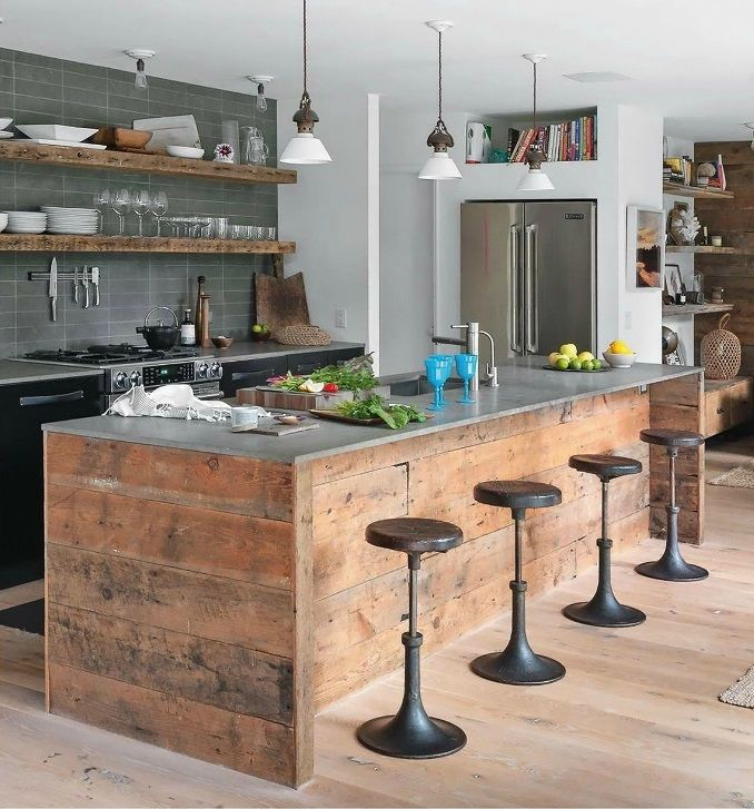 Love! Rustic modern island. But I'd need cabinet space on the opposite side. #kitchen design