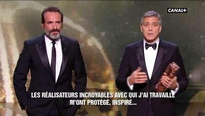 """""""Donald Trump est un danger pour le monde"""" : Jean Dujardin, traducteur officiel de George Clooney ? - Dailymotion"""