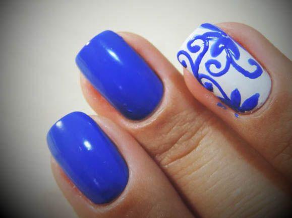 Unhas Azuis Decoradas - http://www.espacomulher.org/unhas-azuis-decoradas/