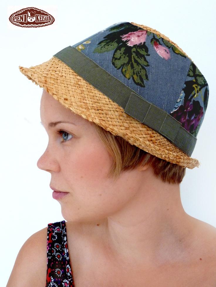 Summer hat, custom made from scraps - http://www.facebook.com/pages/pieni-keisari/79394388494