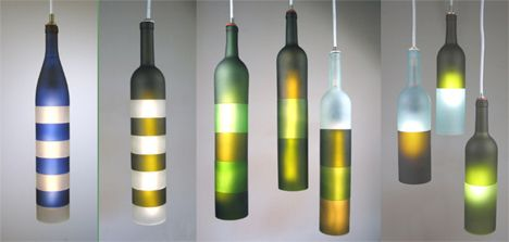 Wine bottle lamps are a popular DIY projects, but they aren't always pretty and certainly can't be called modern. This interpretation, however, ditches the cheesy Italian restaurant vibe with a simple silhouette and blocks of color.