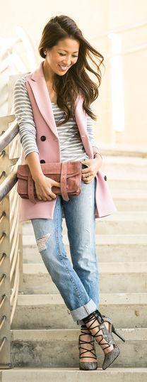 Pink Sleeveless Coat by Wendy's Lookbook
