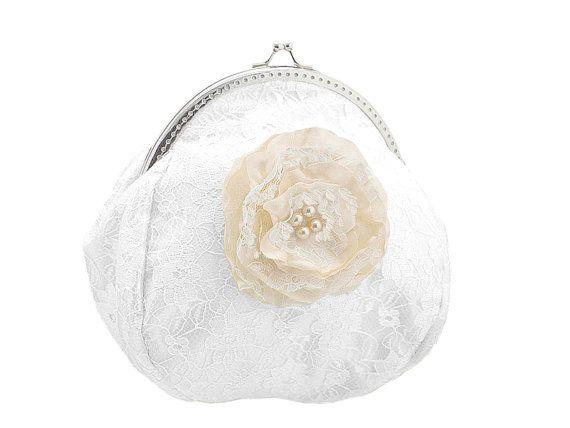 ivory and white lace bride handbag bridal  by FashionForWomen