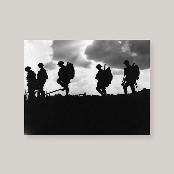 Taken in the plains during the Battle of Broodseinde by Ernest Brooks, five silhouetted soldiers march on ahead prepared for battle. Details include:   Framed or unframed Available in various sizes and materials