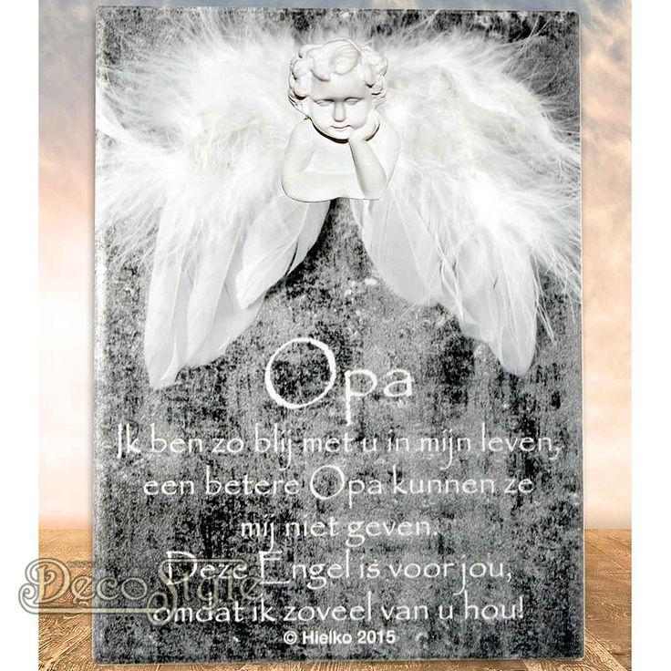 """SLC Gedichtentegel Angel Wings - OPA  Omschrijving: Uit de collectie """"Ik geef jou een engel"""" komt deze tegel met een klein gedichtje. Naast dit kleine gedichtje is de tegel voorzien van beschermende engelen vleugels en een   engelen hoofdje. Voor een ieder die wel een beetje extra bescherming kan gebruiken.  Op het tegeltje staat het volgende gedichtje:  OPA Ik ben zo blij met u in mijn leven, een betere Opa kunnen ze mij niet geven. Deze Engel is voor jou, omdat ik zoveel van u hou!"""
