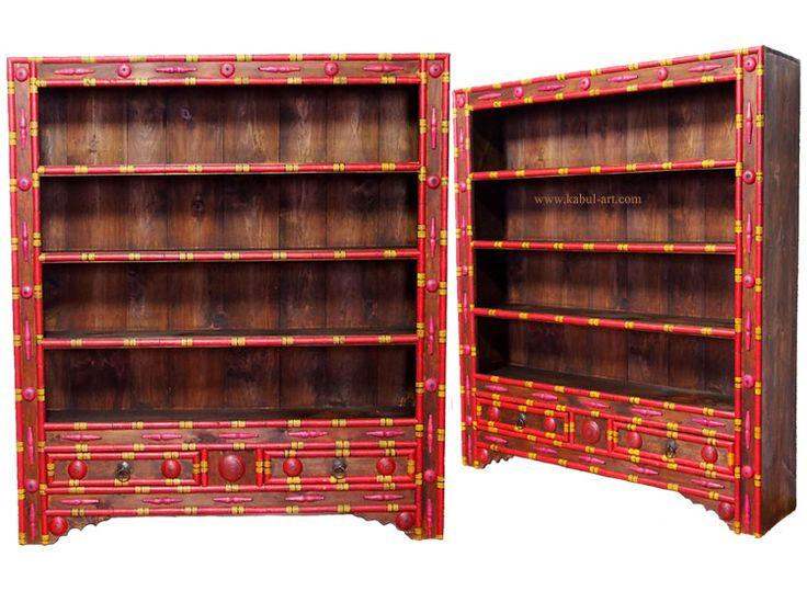 Antik Look Orient Massivholz Wohnzimmerschrank Regal Schrank Bcherregal