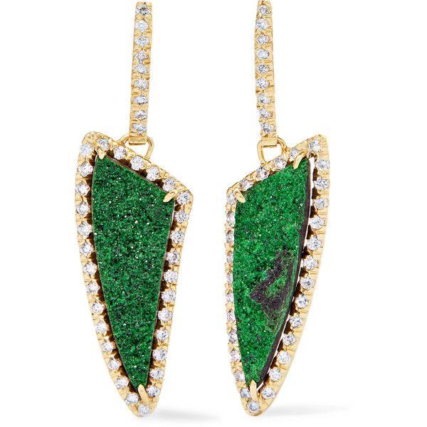 Kimberly McDonald Kimberly McDonald - 18-karat Gold, Diamond And... ($11,125) ❤ liked on Polyvore featuring jewelry, earrings, diamond jewellery, green earrings, 18k diamond earrings, green garnet jewelry and glitter earrings