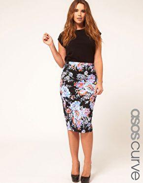 ASOS CURVE Pencil Skirt In Floral Print