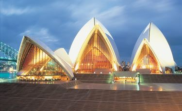 The view of Sydney Opera House from Bennelong Lawn