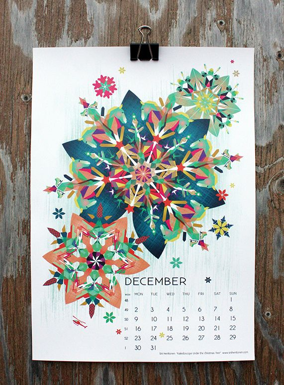 """Kaleidoscope Under the Christmas Tree"" by Sini Henttonen, for December in calendar 13."