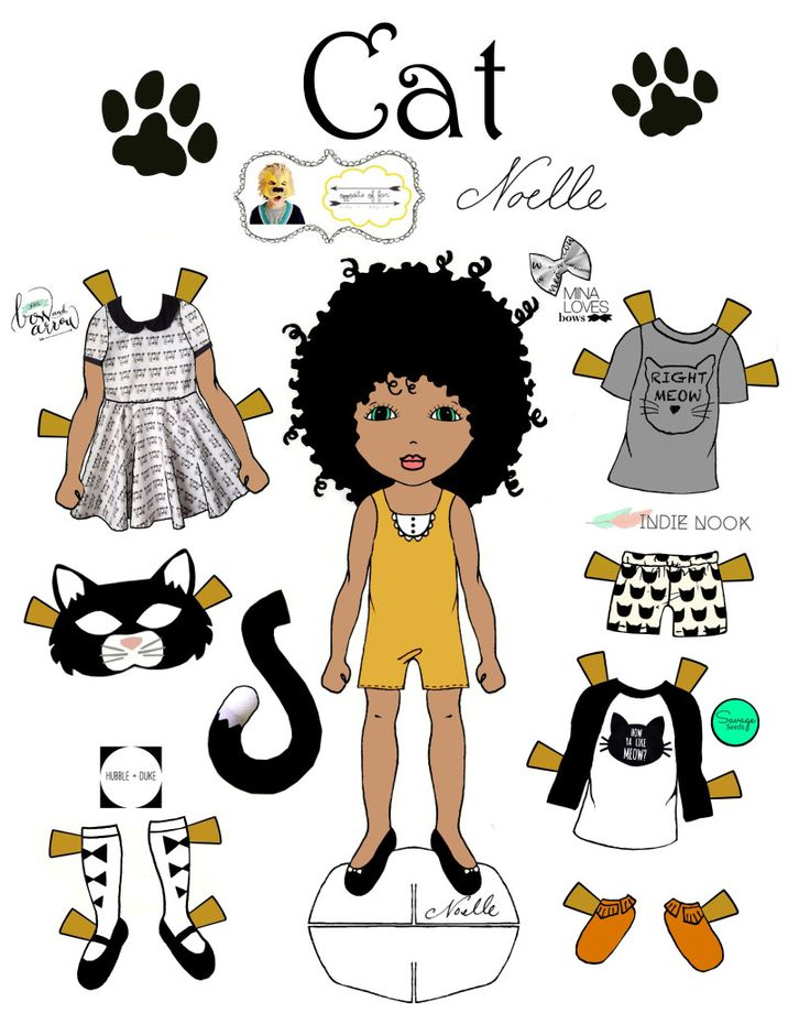 oof cat 2 1500 free paper dolls at artist arielle gabriels the paper dolls printableafrican american