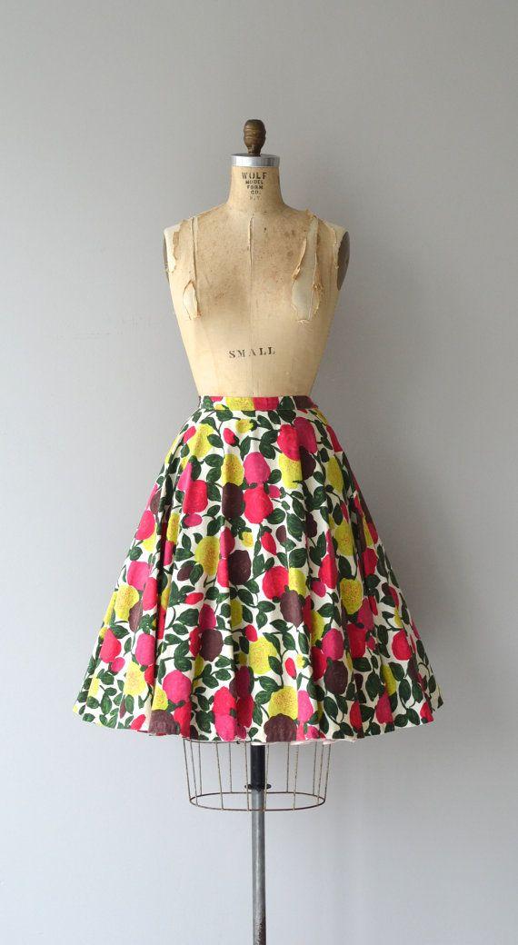 Ripe Fruits skirt vintage 1950s skirt floral 50s by DearGolden
