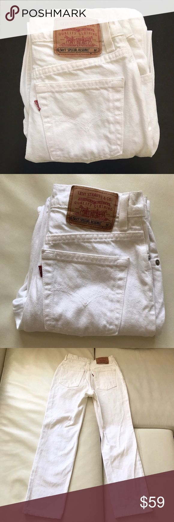 "LEVI'S 507 jeans special reserve white juniors 5 Classic high rise white jeans for young girls. Perfect for spring or summer.  Waist 24"" Rise 10"" Inseam 27"" Levi's Jeans Straight Leg"