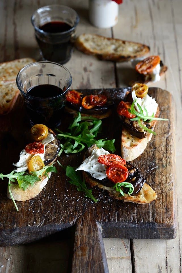 Roman Holiday Bruschetta with Grilled Eggplant, Slow-Roasted Tomatoes, Burrata and Rocket.