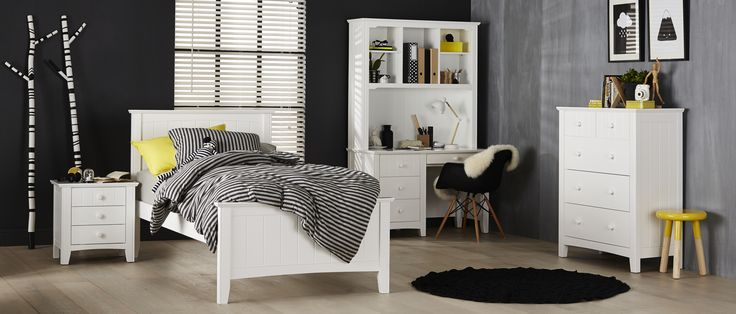 Every tween's dream is realised with the Noah bedroom suite. The high bed head and foot-end adds a hint of drama, whilst the straight lines and white finish creates a clean canvas so you can personalise your hang-out.