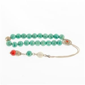Amazonite, Shell & Carnelian Worry Beads (Komboloi) - Gold Κ14 and Sterling Silver 925