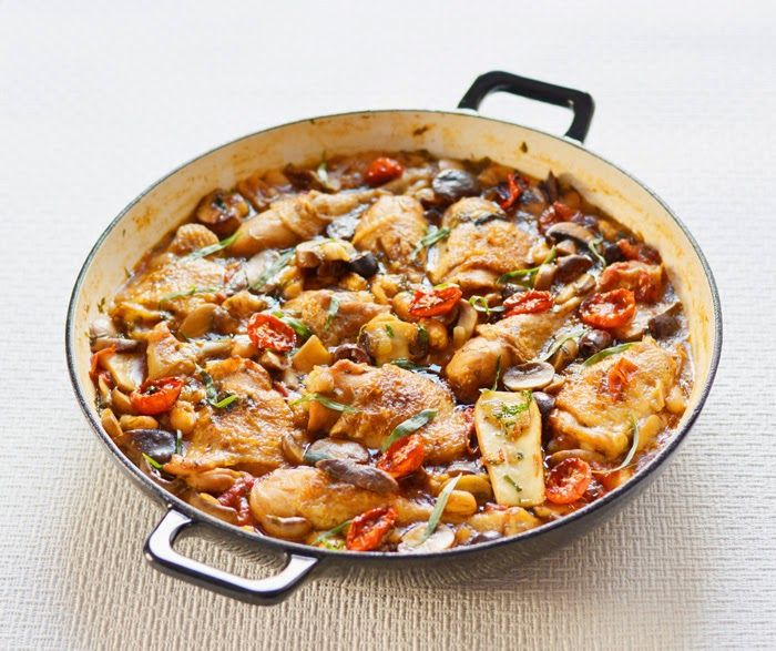 Lemon & Vanilla: Chicken, mushroom and tarragon cassoulet / Cassoul...