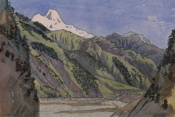 P3617.jpg (844×567) OSTROUMOVA-LEBEDEVA, ANNA (1871-1955)   Valley in the Caucasus, signed.  Watercolour and pencil on paper, 16.5 by 24.5 cm.