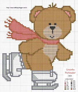 Gráficos de ursinhos em ponto cruz - Espaço Artes Manuais