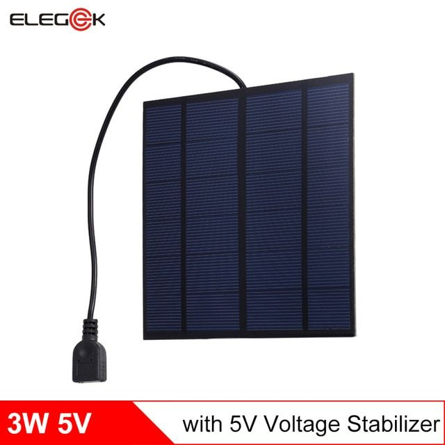 Elegeek 3w 5v Usb Output Solar Panel Charger With 5v Stabilizer Polycrystalline Pet Mini Solar Panel Cell For Diy Battery Charge Review Solar Panel Charger Mini Solar Panel Solar Charger