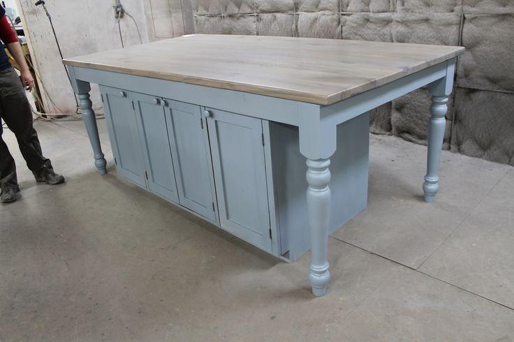 Custom Light Blue Oak Kitchen Island  Kitchen and Dining  Pinterest