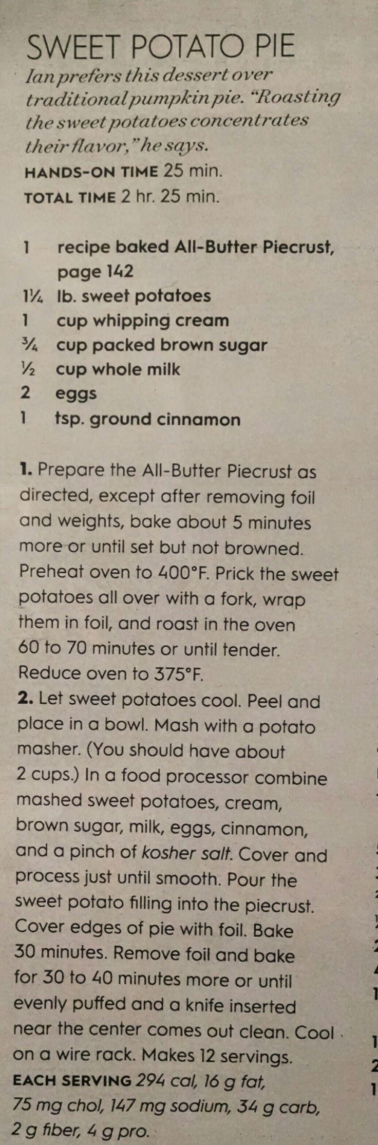 Sweet Potato Pie, BHG