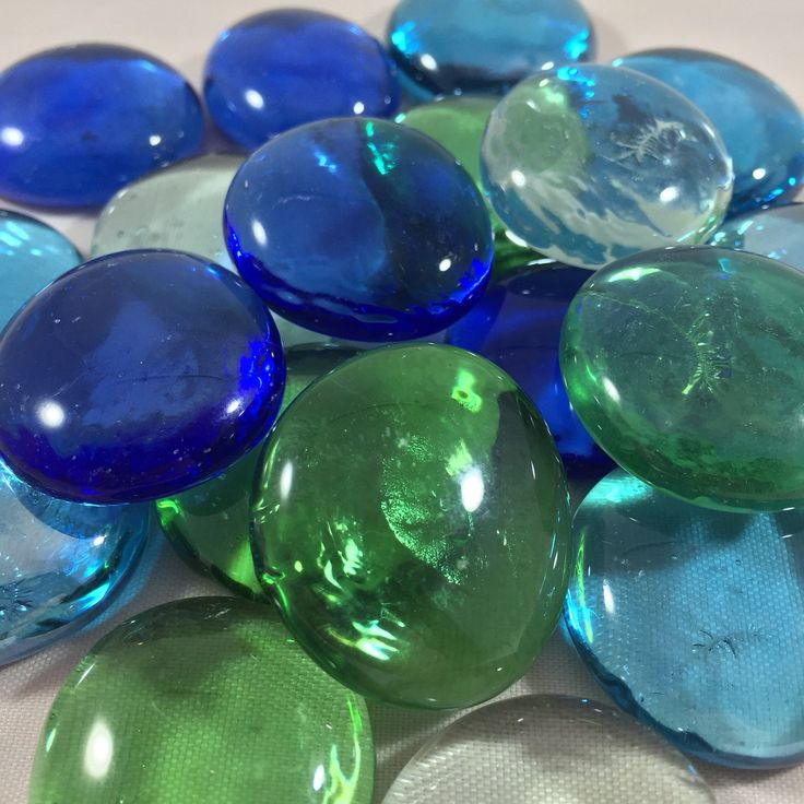 1/2 pound - Jumbo Flat Marbles Mix - 1 inch - Beautiful Glass Greens, Blues & Clear - Gems - Pebbles - Stones (Approx. 22) by FantasySwirl on Etsy