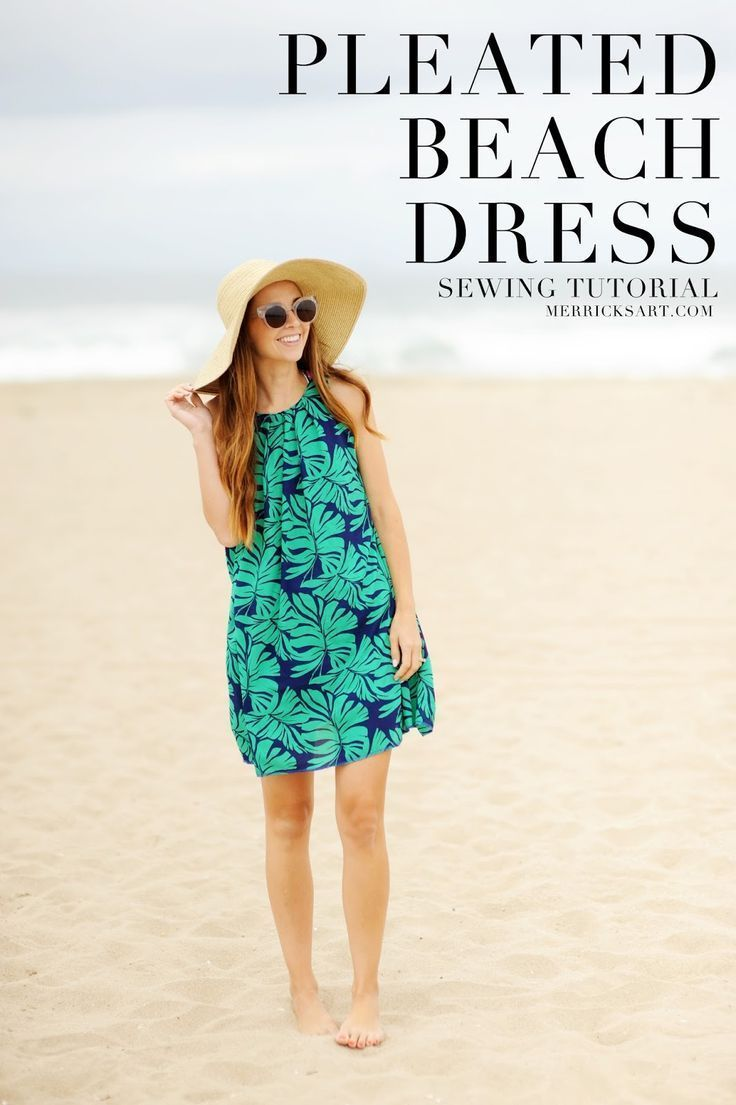 188 best dress patterns and tutorials images on pinterest sewing diy friday pleated palm leaf print beach dress sewing tutorial jeuxipadfo Images