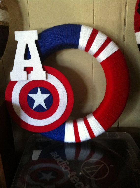 Captain America Avengers 14 Yarn Wreath indoor by BluebirdAndFox