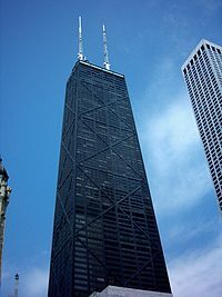John Hancock Tower. Chicago - to me the best view of the city is from the Ladies Room in the restaurant, top floor!  Check it out :)