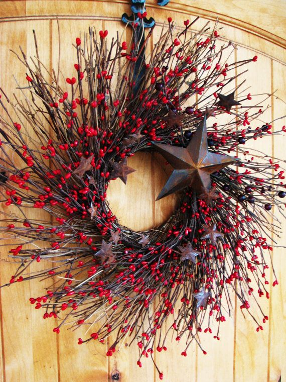 Primitive RUSTIC RED STAR Twig Wreath-Mini Wreath-Summer Holiday Wreath-Patriotic Decor-Scented Cinnamon Stick-Choose your Scent on Etsy, $40.00