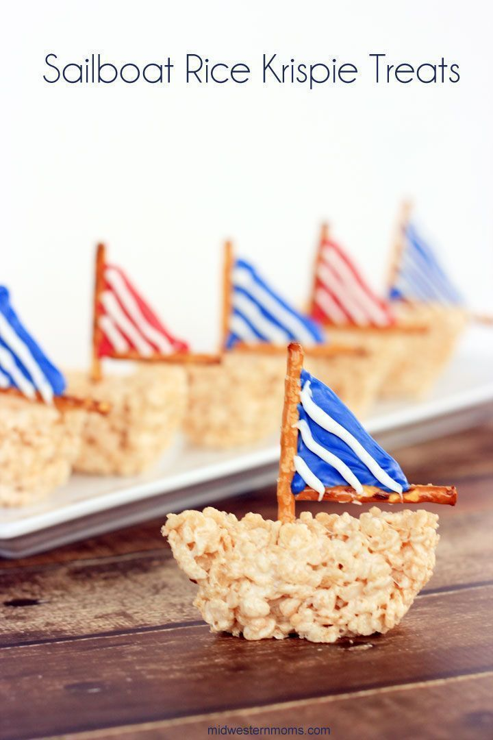 Fun and Simple Sailboat Rice Krispie Treats. Perfect for parties and summertime!