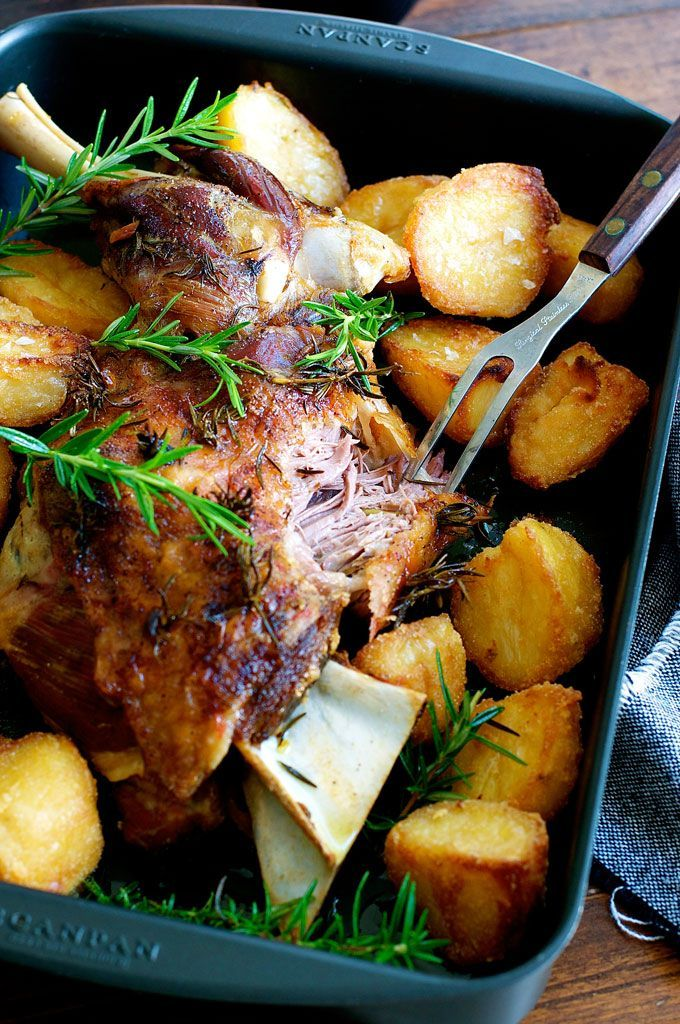 Slow Roasted Rosemary Garlic Lamb Shoulder - cheaper, tastier and easier to make than a leg of lamb. Infused with garlic and rosemary, so tender you don't need a carving knife. @recipetin