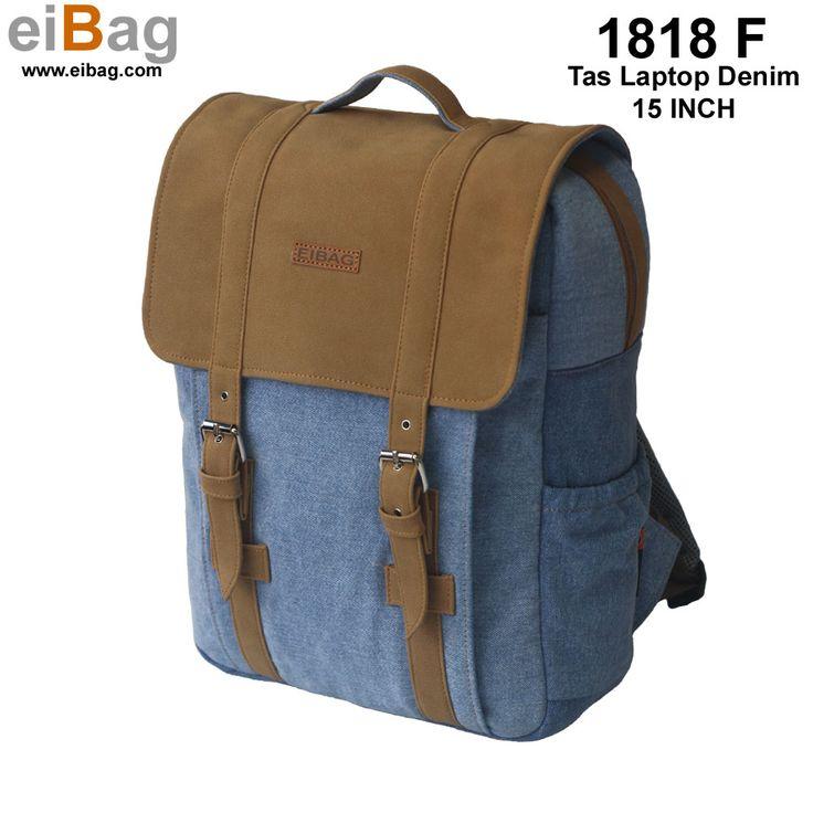 Tas laptop denim 15 inch murah model ransel dengan bahan soft denim dan variasi bahan suede coklat dengan ukuran cukup besar, cocok untuk sekolah, kuliah.